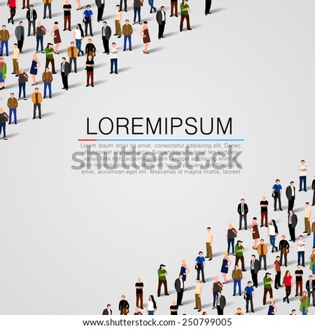 Large group of people on white background. Vector background - stock vector