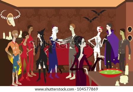 Large Halloween Scene - stock vector