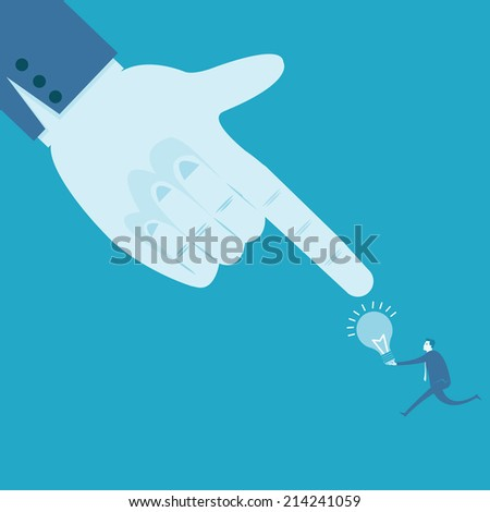 Large hand pointing at idea  - stock vector