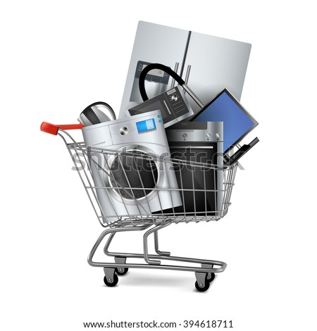 Large home appliances with a check in the shopping cart. Sales concept.