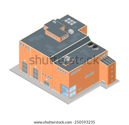 Large Isometric Factory Building.  Isometric Factory. Factory industrial manufacturer. - stock vector