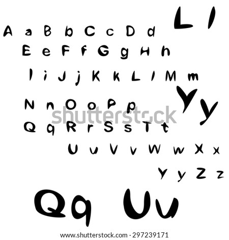 Large letters, small letters. Font. Brush Style Hand Draw Font Abc. Alphabet written with brush pen. - stock vector
