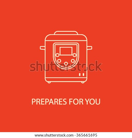 Large modern set of different household appliances drawn circle. Linear elements flat design for the shop, house management company. Home appliances icons. Vector