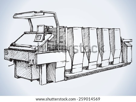 Large modern speed polygraph enterprise full color unit: cyan, magenta, yellow, black.Vector freehand linear ink drawn background sketchy in art scrawl antiquity style pen on paper with space for text - stock vector