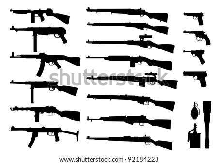 large pack of firearms of the second world war - stock vector