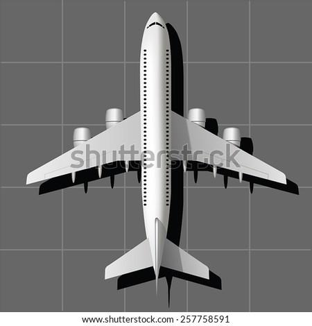 Large passenger plane on the runway. Vector illustration - stock vector