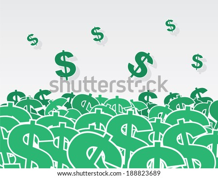 Large pile of dollar signs  - stock vector