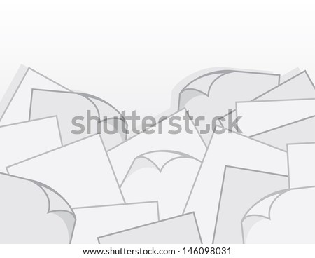 Large pile of paper with curled pages