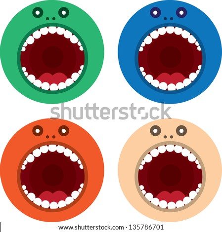 Large round monster mouth in various colors - stock vector