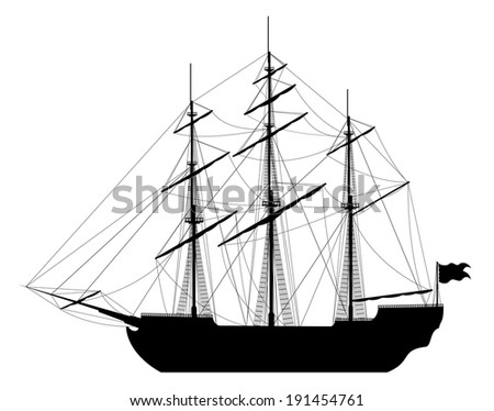 Large sailing ship. Detailed vector illustration of large black ship isolated on white background.
