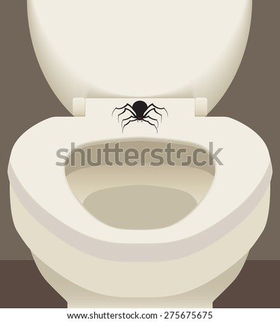 Large scary spider resting on toilet seat - stock vector