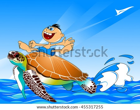 large sea turtle swims through the sea with the boy on the shell - stock vector