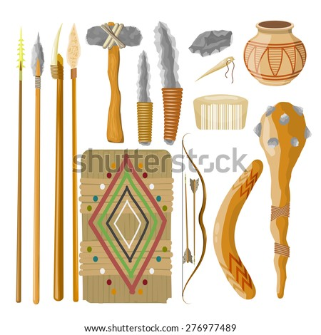 Large Set Items ancient people on white background. Objects related prehistoric man. Vector illustratio - stock vector