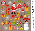 "Large set ""Merry Christmas."" Illustrations without contour. - stock vector"