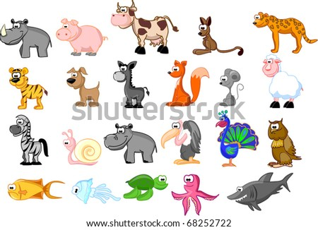large set of animals isolated on a white background EPS 10 - stock vector