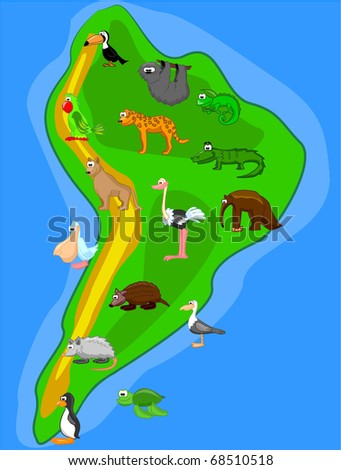 large set of animals of South America map eps10