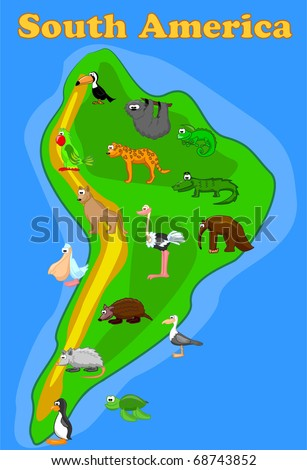 large set of animals of South America map eps10 vector - stock vector