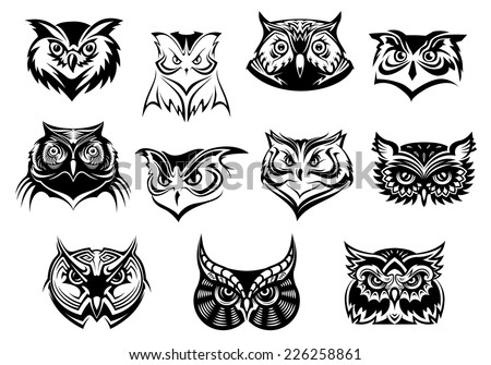 Large set of black and white vector owl heads showing different species and plumage, vector illustration isolated on white - stock vector