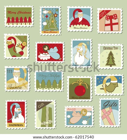 Large Set of Christmas Postage stamps - stock vector
