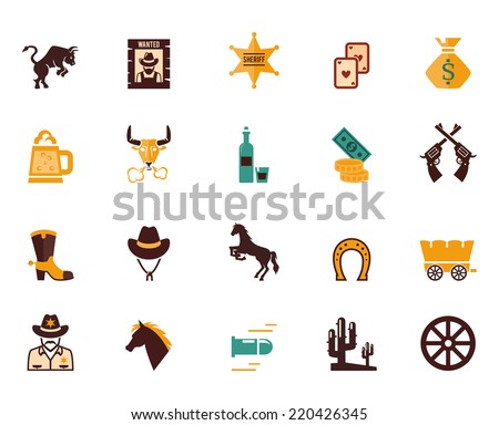 Large set of colored Western flat vector icons with horses  bulls  sheriff  guns  money  cowboy  wagon  wheel  bullet  beer  stetson and horseshoe - stock vector