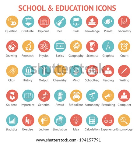 Large set of 40 different colorful school   college  university and education icons on round web buttons each labeled below to show what it represents  vector illustration - stock vector
