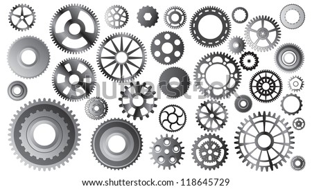 Large set of different gears - vector illustration - stock vector