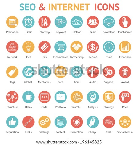 Large set of 40 different SEO and internet icons on colurufl round web buttons each labeled as to its meaning with text below   vector illustration - stock vector