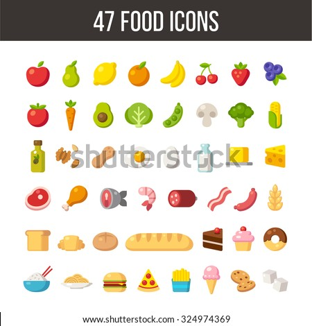 Large set of flat cartoon food icons: meat and dairy, fruits and vegetables, meals and desserts. - stock vector