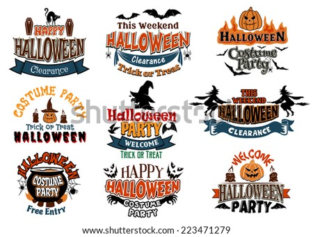 Large set of Halloween party vector designs with assorted text decorated with cats, bats, witches, pumpkins, ghosts, jack-o-lanterns and a cauldron - stock vector