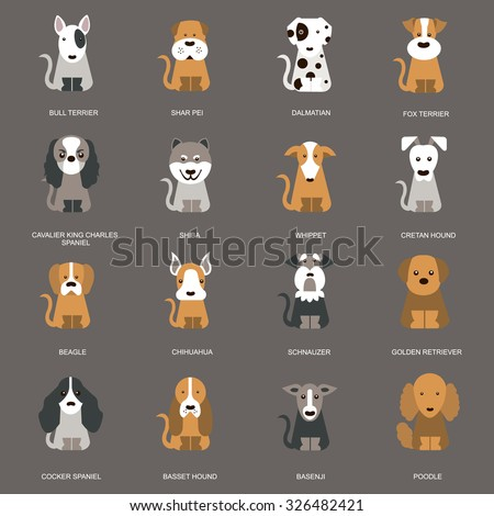 Large set of icons in a flat style of dog breeds