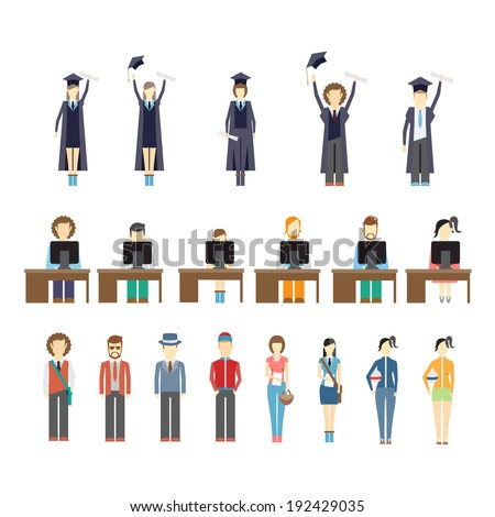 Large set of icons of young people and students with graduates celebrating receiving their diplomas  students working at computers seated at desks and a diverse set of young trendy people - stock vector