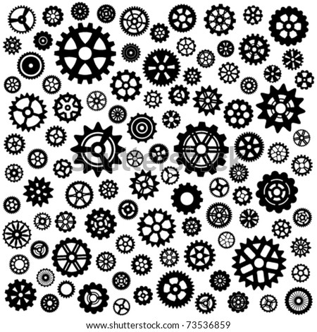 Large set of more than 100 different gears - stock vector