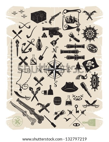 Large set of objects and pirate characters, vector - stock vector