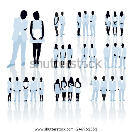 Large set of people silhouettes. Businesspeople; men and women. - stock vector