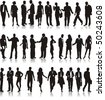 Large set of silhouettes of business people - stock vector