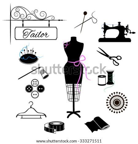"""Large set of silhouettes of sewing. The sign """"tailor"""" and attributes sewing. Black and white vector illustration with colored elements - stock vector"""