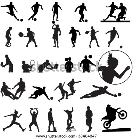 Large set of sport silhouettes