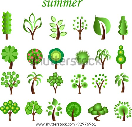 Large set of summer trees, the vector - stock vector
