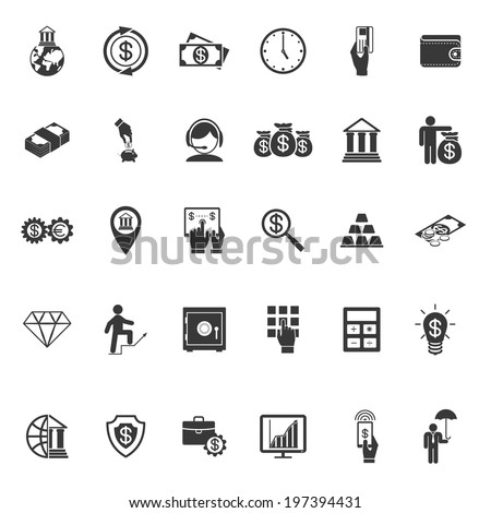 Large set of thirty different simple vector black and white silhouette money  banking  cash  business and finance icons - stock vector