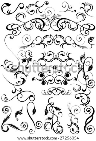 Large set of vector design elements. - stock vector