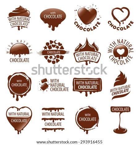large set of vector logos chocolate - stock vector