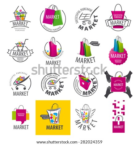 large set of vector logos for market - stock vector