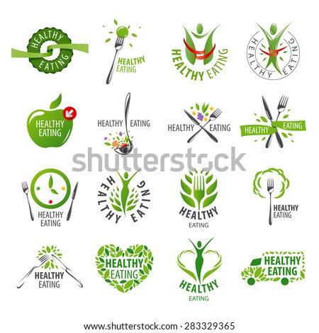 large set of vector logos healthy eating - stock vector