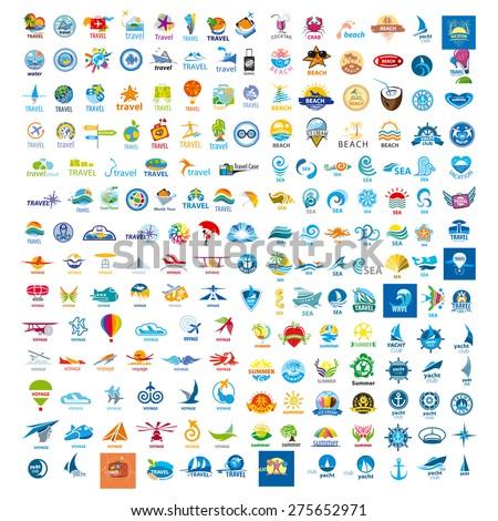 large set of vector logos trip - stock vector