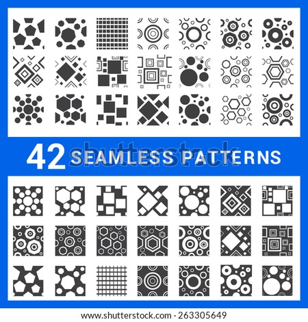 large set of 42 vector seamless patterns on white background. Endless texture can be used for wallpaper, pattern fills, web page background,surface textures. Set of monochrome geometric ornaments.