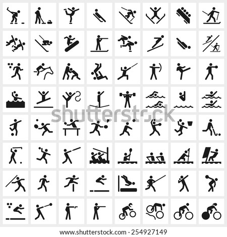 Large set of vector sports symbols including all the major winter and summer sports. - stock vector