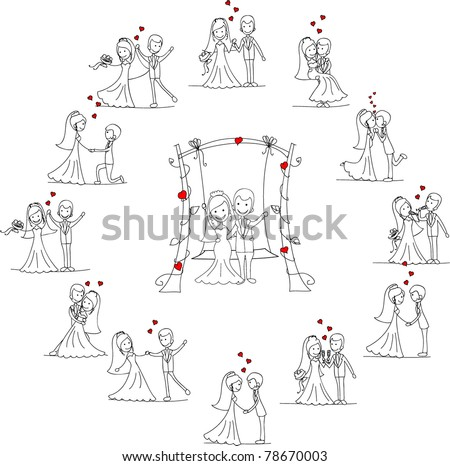 Large set of wedding pictures - stock vector