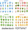 Large set of winter, spring, autumn, summer trees, the vector - stock vector