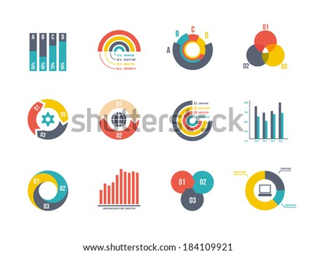 large set pie and bar charts vector templates for infographics - stock vector
