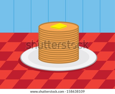 Large stack of pancakes with butter  - stock vector